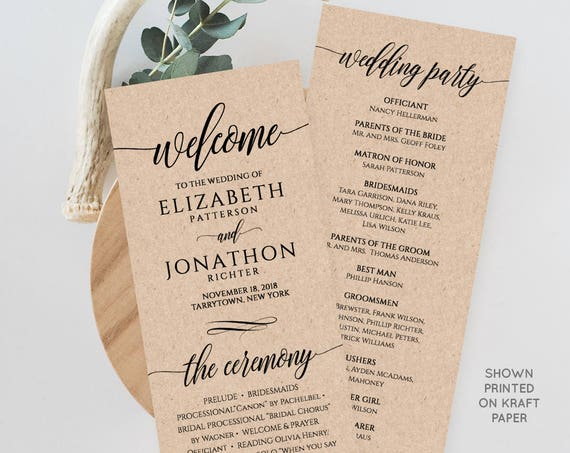 Wedding Program Printable, Order of Service, Rustic Ceremony Program Template, Instant Download, 100% Editable Template, Digital #020-201WP