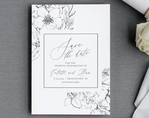 Save the Date Template, Vintage Botanical & Foliage Wedding Date Card, Instant Download, 100% Editable, Printable, Templett, DIY #061-134SD