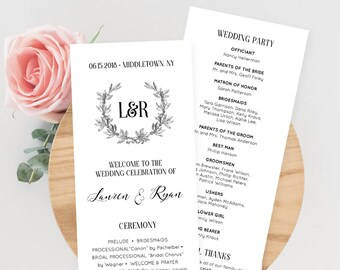 Wedding Program Card, Order of Service, Printable Ceremony Program, 100% Editable Template, Vintage Wreath, Instant Download, DIY #029-206WP