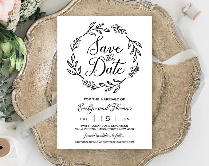 Save the Date Template, Printable Wedding Date Card, Rustic Wedding Save the Date, Instant Download, Fully Editable Template, DIY#027-118SD