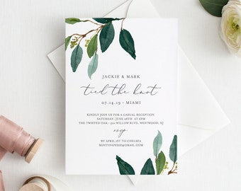 Elopement Invitation Template, INSTANT DOWNLOAD, Printable Greenery Reception Party Invite, 100% Editable + Add Your Photo, DIY #044-114EL