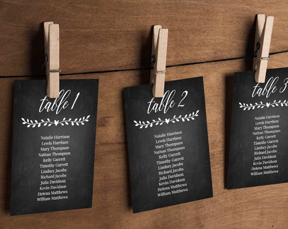 Wedding Seating Chart Template, Instant Download, DIY Chalkboard Hanging Seat Chart, Table Card, Printable, 100% Editable, Rustic #NC-104SP