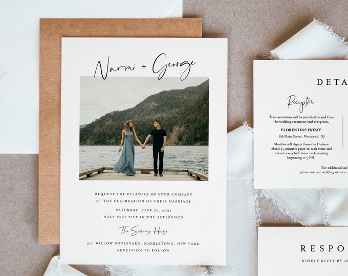 Photo Minimalist Wedding Invitation Suite, 100% Editable Template, Simple & Modern, RSVP, Details Card, Instant Download, Templett #096B