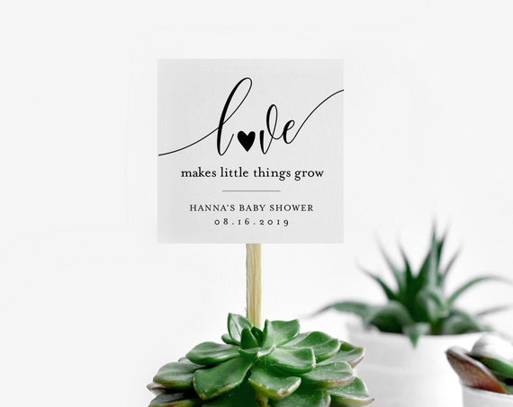 Baby Shower Favor Tag, Love Makes Little Things Grow, Plant Favor, Succulent Favor, 100% Editable, Instant Download, Templett #008-129SF