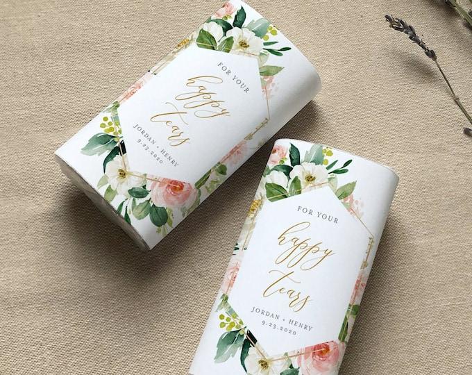 Pocket Tissue Wraparound, Happy Tears, Editable Wedding Tissue Favor Template, Blush Floral, Printable, Instant Download, Templett 043-104PT