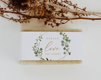 Soap Label Wrapper Template, Greenery Soap Wedding Favor, Social Distance Favor, Printable, Editable, Instant Download, Templett #056-106SL