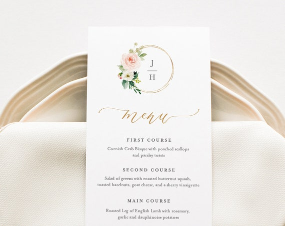 Wedding Menu Template, INSTANT DOWNLOAD, Printable Dinner Menu Card, Editable, Blush Florals, Boho Monogram Wedding, Templett #043-152WM