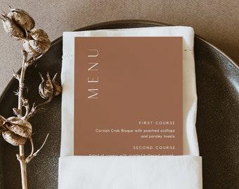Minimal Menu Template, Printable Wedding Dinner Menu Card, Terracotta, Burnt Orange, 100% Editable, Instant Download, Templett #0020-195WM