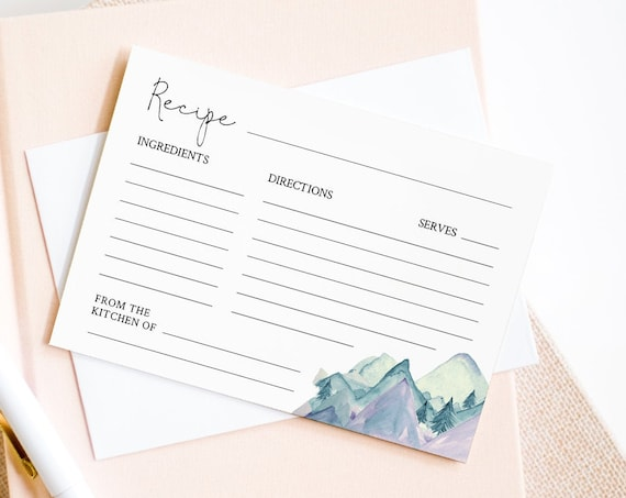 Mountain Recipe Card Printable, Instant Download, 100% Editable Template, Rustic Pine Bridal Shower Recipe Insert, DIY, Templett #063-115RC