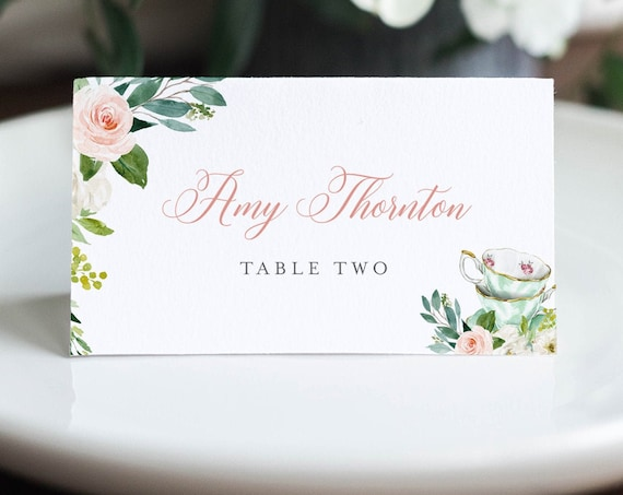 Tea Party Place Card Template, Printable Teacup Wedding Escort Card with Meal Option, INSTANT DOWNLOAD, Editable, Templett #085-153PC