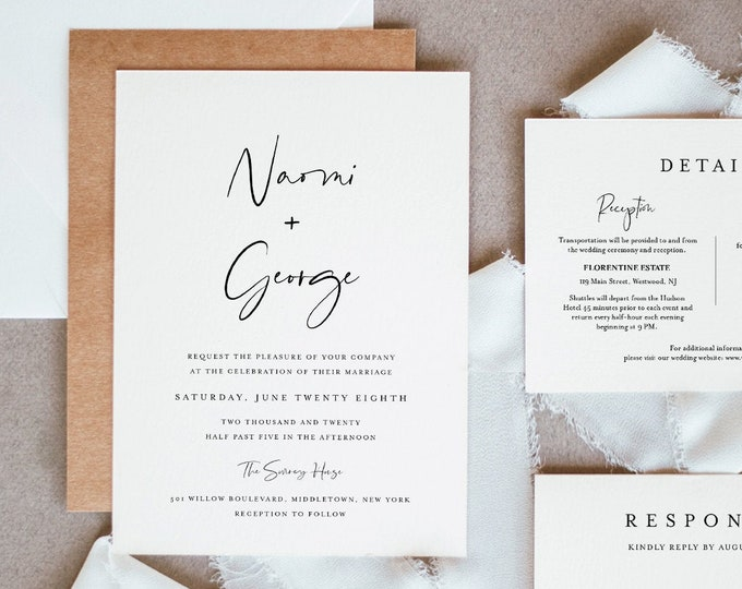 Minimalist Wedding Invitation Suite, 100% Editable Template, INSTANT DOWNLOAD, Invite, RSVP, Details Card, Simple & Modern, Templett #096A