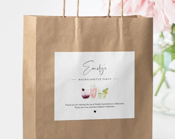 Bachelorette Welcome Bag Label Template, Welcome Box Sticker, INSTANT DOWNLOAD, Editable Hotel Bag Printable, Templett #060-113WBL