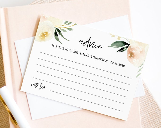 Advice Card Template, Wedding Bridal Shower, Baby Shower, 100% Editable Text, Instant Download, Peach Floral & Greenery, Templett #076-136EC