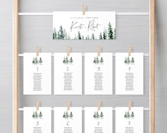 Seating Chart Template, Rustic Pine Tree Wedding Seating Cards, Winter Evergreen, Editable Text, Instant Download, Templett, DIY #073-113SP