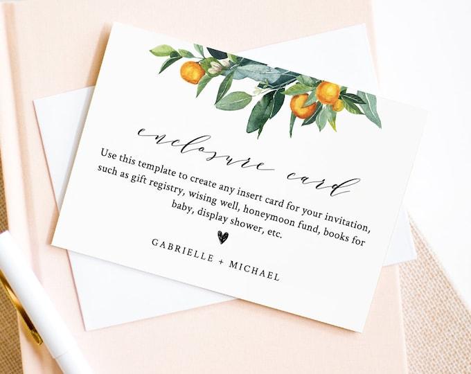 Orange Enclosure Card Template, Citrus Wedding Insert, Bridal Shower Insert, Details, Instant Download, Editable Text, Templett #084-139EN