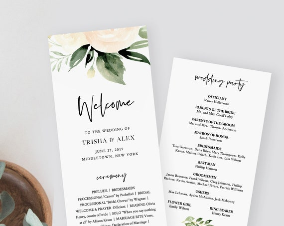 Boho Wedding Program Template, Printable Order of Service, 100% Editable Text, Peach Floral, DIY Instant Download, Templett #076-223WP