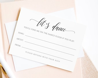 Wedding Song Request Card, Printable DJ Request, Song Request RSVP Insert, Editable Template, Instant Download, Templett #023-101SR