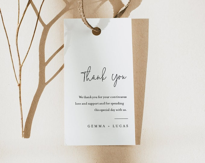 Minimalist Favor Tag for Bridal Shower or Wedding, Editable Thank You Tag, Modern & Clean, Instant Download, Templett #095A-177FT