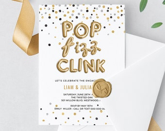 Engagement Party Invitation, INSTANT DOWNLOAD, Printable Engaged Announcement, Gold Foil Balloon, 100% Editable Template, DIY #028-111EP
