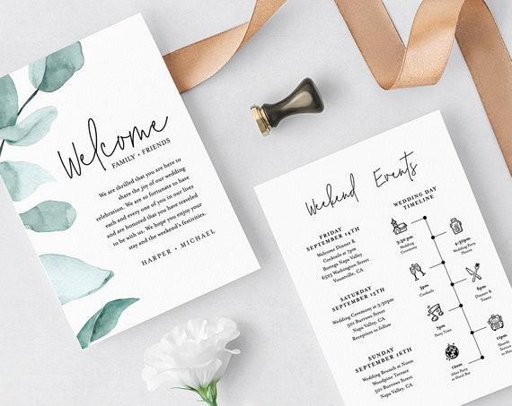 Welcome Bag Note & Timeline Template, Wedding Itinerary, Agenda, Order of Events, INSTANT DOWNLOAD, 100% Editable, Greenery, DIY #049-115WB
