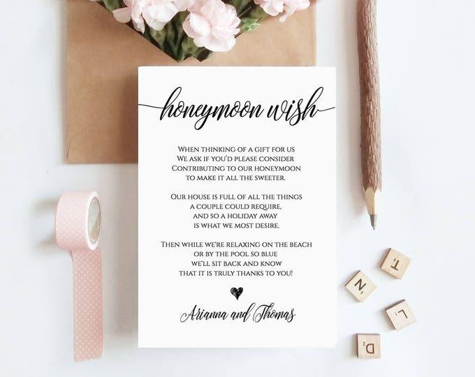 Honeymoon Wish Printable Card, Wedding Wishing Well Insert, Honeymoon Fund Enclosure Card, 100% Editable, Instant Download, DIY #023-102EC