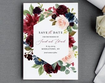 Printable Save the Date Template, Merlot and Blush Florals, Instant Download, 100% Editable, Templett, Fall / Winter Boho Wedding #062-135SD