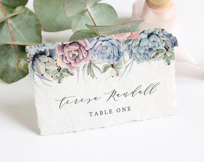 Succulent Place Card Template, INSTANT DOWNLOAD, Printable Wedding Escort Card, 100% Editable, Boho, Cactus, Flat & Tent Card #041-117PC