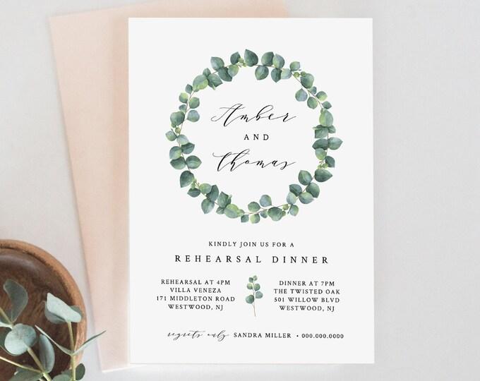 Rehearsal Dinner Invitation, INSTANT DOWNLOAD, 100% Editable Template, Printable Wedding Rehearsal Invite, Greenery Eucalyptus #036-122RD