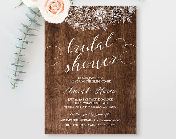 Bridal Shower Invitation Template, Printable Wedding Shower Card, Rustic Boho Bride, Instant Download, Fully Editable Template #025-119BS