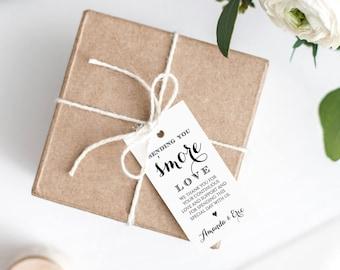S'more Wedding Tag Printable, Smore Love Wedding Favor Tag, DIY Rustic Kraft, 100% Editable Template, Instant Download, Digital #106FT