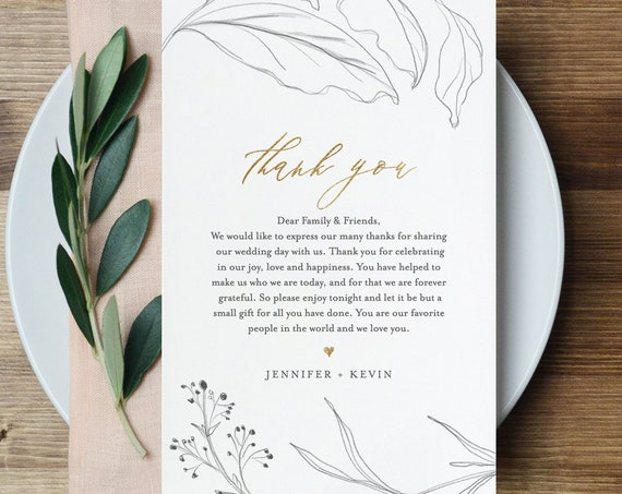 Wedding Napkin Note, Thank You Letter, In Lieu of Favor Card Template, Wedding Menu Thank You, Simple, Rustic, INSTANT DOWNLOAD #074-113TYN