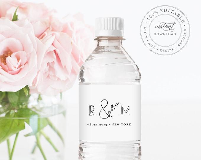 Water Bottle Label Template, INSTANT DOWNLOAD, Printable Custom Label, 100% Editable, Welcome Bag, Wedding Favor, Rustic, Kraft  #042-107BL