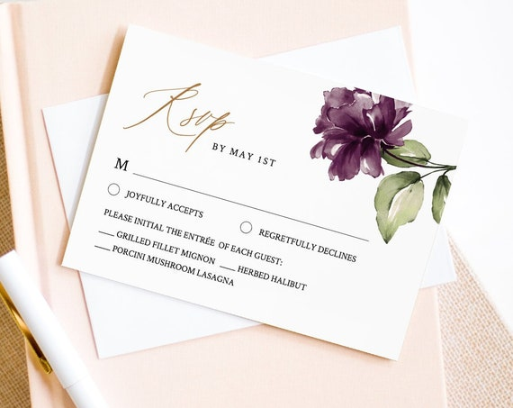 RSVP Card Template, Editable Response, Wedding Reply Card, Purple Floral Wedding Insert, Printable, Instant Download, Templett #006-rsvp