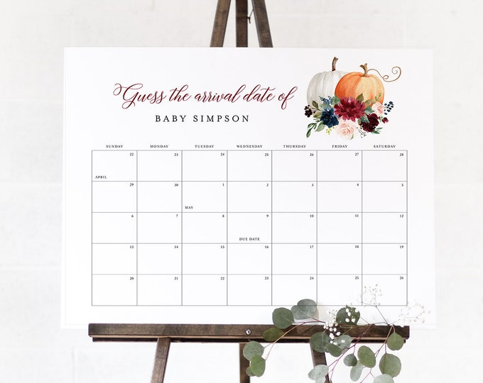 Fall Baby Due Date Sign, Guess the Birthday Baby Shower Game, Calendar, Printable, Editable Template, Instant Download, Templett 072A-107GDD