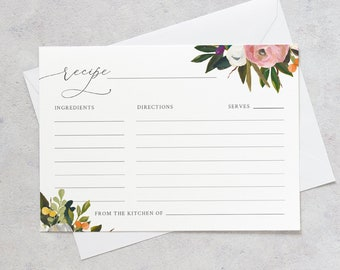 Floral Recipe Card Template, Summer Bridal Shower Insert, Instant Download, Printable, 100% Editable Text, Templett, 3.5x5 #054-125RC