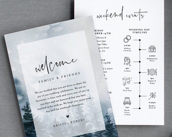 Winter Wedding Timeline & Welcome Letter Template, Pine Tree Wedding Bag Order of Events, INSTANT DOWNLOAD, 100% Editable Text #070-137WB