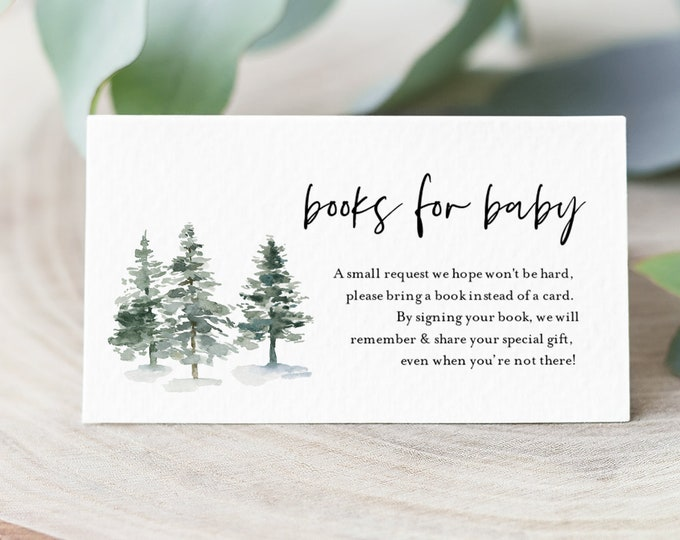 Books for Baby Card, Book Request, Winter Pine Baby Shower Invitation Book Insert, Editable Text, INSTANT DOWNLOAD, Templett #073A-121BFB