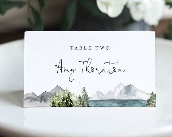 Lake Place Card Template, Printable Mountain Pine Wedding Escort Card with Meal Option, INSTANT DOWNLOAD, Editable, Templett #017A-154PC
