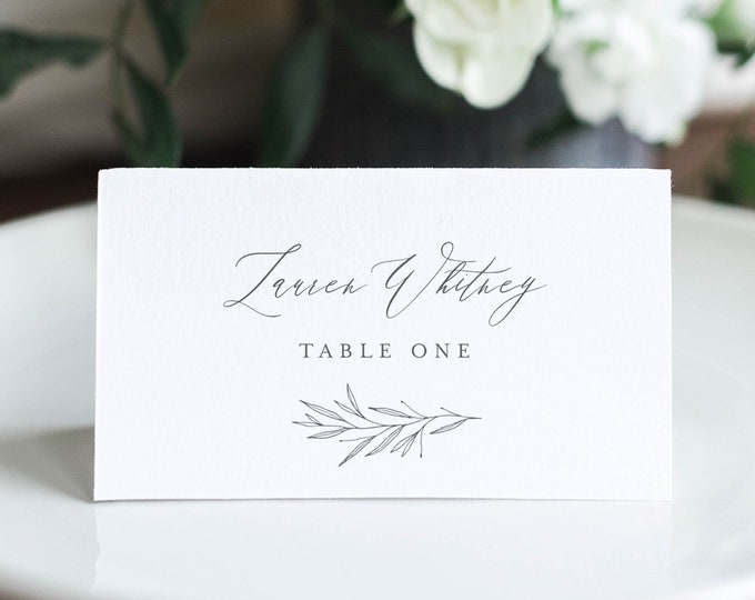 Minimalist Place Card Template, Printable Modern Wedding Escort Card with Meal Option, INSTANT DOWNLOAD, Editable, Templett #0007-170PC
