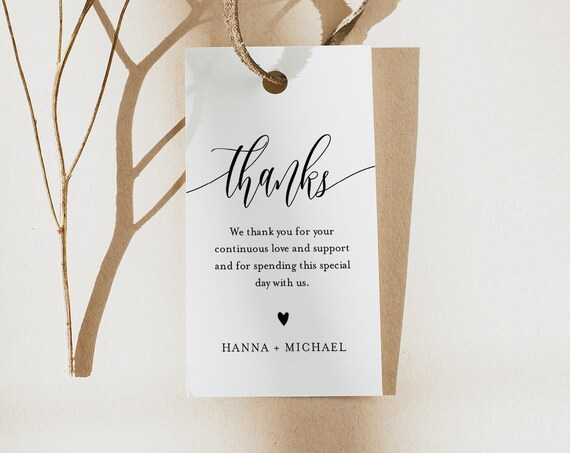 Modern Calligraphy Favor Tag for Bridal Shower or Wedding, Thank You Tag, INSTANT DOWNLOAD, Editable Text, Printable, Templett #008-164FT