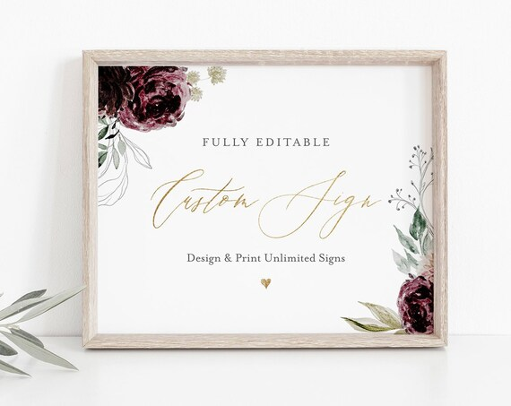 Custom Wedding Sign Template, Create Unlimited Signs, 100% Editable Text, Moody Ethereal Florals, INSTANT DOWNLOAD, Printable #074-124CS