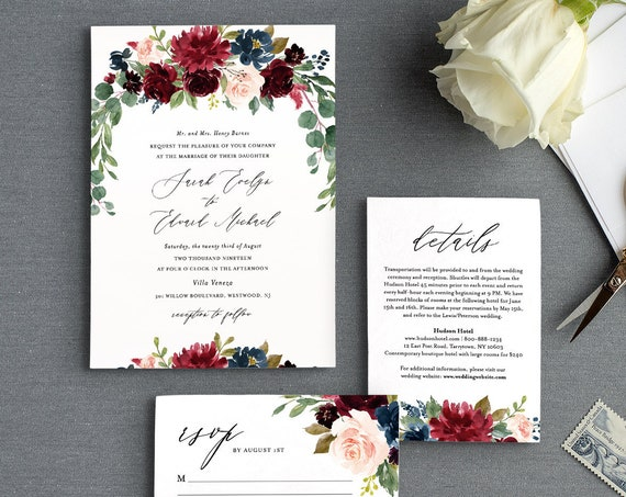 Merlot Wedding Invitation Suite, Editable Template, Burgundy, Blush Boho Floral & Greenery, Invite / RSVP / Details, INSTANT DOWNLOAD #062A