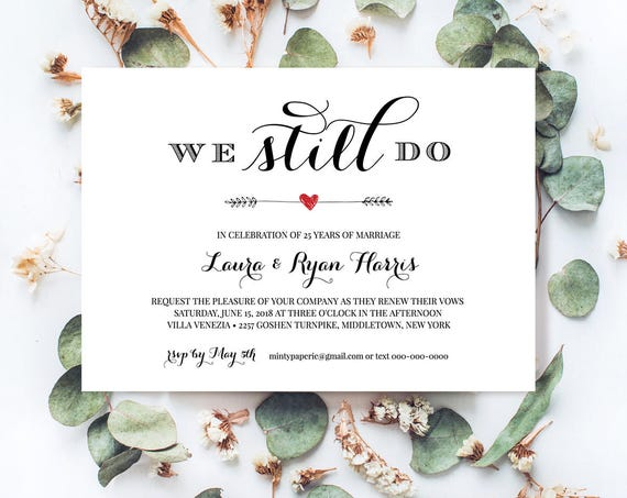 Vow Renewal Invitation Template, We Still Do, Instant Download, Wedding Anniversary, Renew Vows, 100% Editable, Printable, Digital #NC-202VR