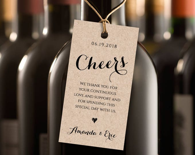 Cheers Wine Tag, Wedding Favor Tag, Wedding Table Wine, DIY Printable Tag, Instant Download, 100% Editable Template, Digital #NC-105FT