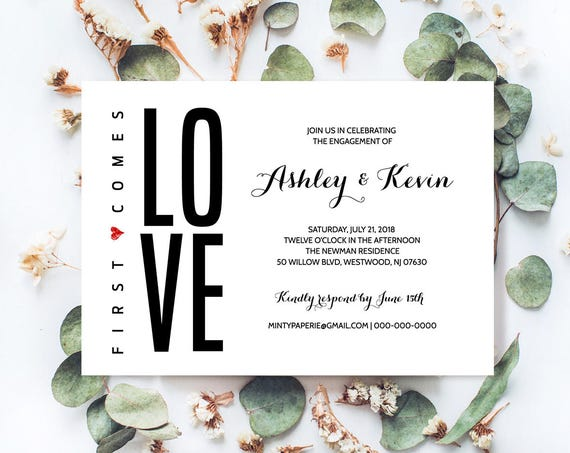 Printable Engagement Party Invitation Template, Modern Engagement Announcement, Instant Download, Fully Editable Invite, Digital #NC-203EP