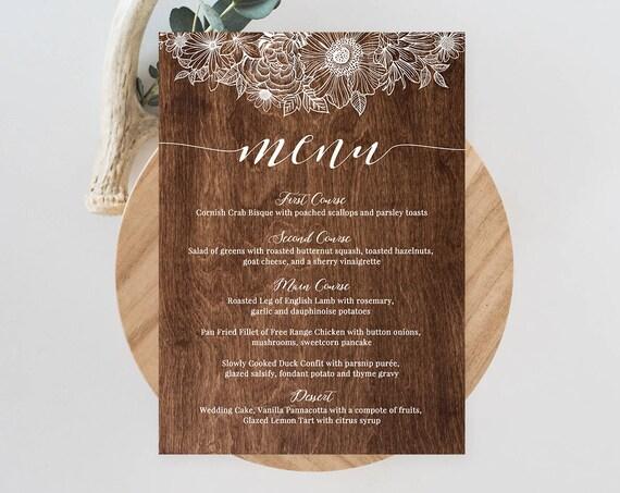 Menu Card Template, Printable Wedding Menu, Fully Editable, Instant Download, DIY Rustic Wood Floral Reception Menu, Digital  #025-201WM