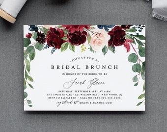 Bridal Brunch Invitation Template, Couples Shower Invite, Merlot & Blush Boho Florals, INSTANT DOWNLOAD, 100% Editable Text, DIY #062-162BS