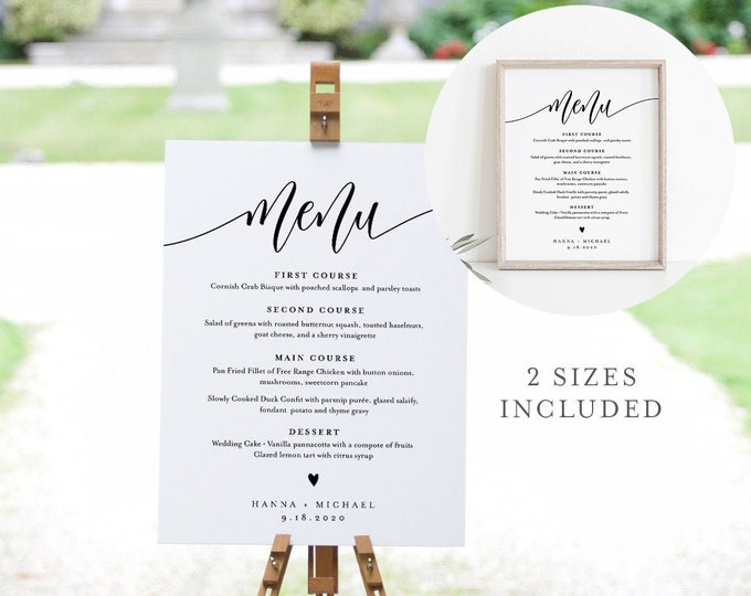 Menu Sign Template, Editable Wedding Dinner Menu Poster, Modern Calligraphy, Instant Download, Printable, Templett 8x10, 18x24 #008-20S