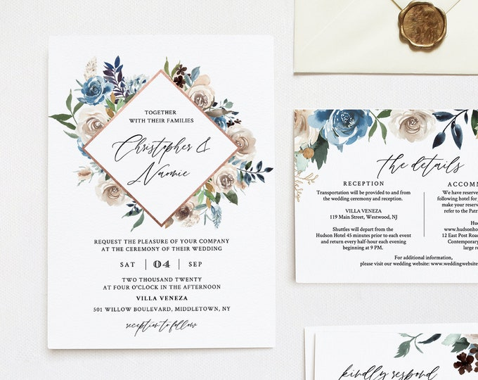 Blue Floral Wedding Invitation Template, Boho Cream and Navy Floral Invite, RSVP & Info, Editable Text, Templett, Instant Download #077A