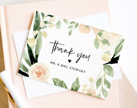 Thank You Card Template, Printable Peach Florals Wedding / Bridal Shower Folded Note Card, INSTANT DOWNLOAD, Editable Text, DIY #076-123TYC